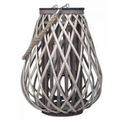 Lanterne Décorative en Osier à Poser ou à Suspendre avec Porte Bougie et Cordelette Couleur Naturelle 30x30x40cm