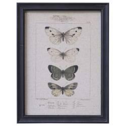 Tableau Papillon Mural avec Imprimé Papillon Décoration Murale Impression et Cadre Bois Noir 1,5x33x43cm