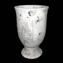 Grande Coupe Cache Pot Style Antique en Terre Cuite Ton Pierre 20x20x31cm