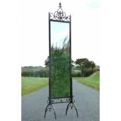 Grand Miroir Psyché sans Glace sur Pied en Fer Marron ou Ardoise Porte Menu 60x242cm