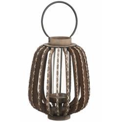 Bougeoir Lanterne en Bois Marron et Verre J-Line Décoration à Poser ou à Suspendre avec Anneau en Métal Noir 33,5x33,5x63cm