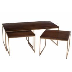 Set de 3 Tables Gigognes Rafi J-Line Guéridons en Métal Or et Bois de Manguier Brun Foncé 46,5x60x120cm