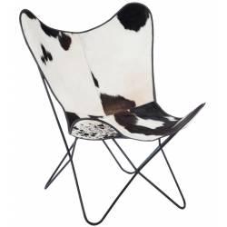 Chaise Lounge Peau de Vache Synthétique et Métal Noir J-Line Fauteuil Papillon Siège de Salon Tendance Style Vintage 65x90x92cm