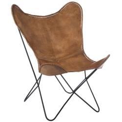 Chaise Lounge Cuir Tanné Marron Cognac et Métal Noir J-Line Fauteuil Papillon Siège de Salon Tendance Style Vintage 71x78x93cm