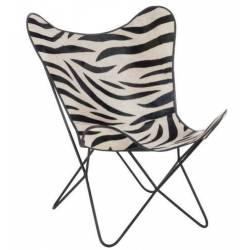 Chaise Lounge Motif Zèbre en Cuir, Tissu et Métal J-Line Fauteuil Papillon Siège de Salon Vintage Noir et Blanc 65x90x92cm