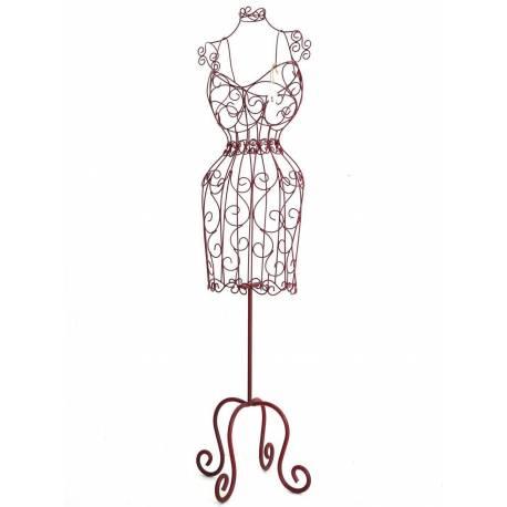 Grand Buste de Couture Mannequin Porte Bijoux ou Robe de Mariée à Poser en Fer Patiné Bordeaux 20x73x155cm