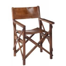 Chaise de Régisseur Pliable en Bois et Cuir Couleur Cognac J-Line Assise de Salon Vintage 57x59,5x90cm