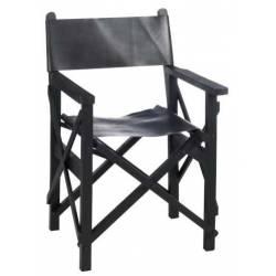 Chaise de Régisseur Pliable en Bois et Cuir Noir c J-Line Assise de Salon Vintage 57x59,5x90cm