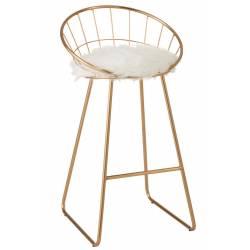 Chaise de Bar Charlotte J-Line Assise de Comptoir en Métal Siège Design de Couleur Or 52x54x102cm