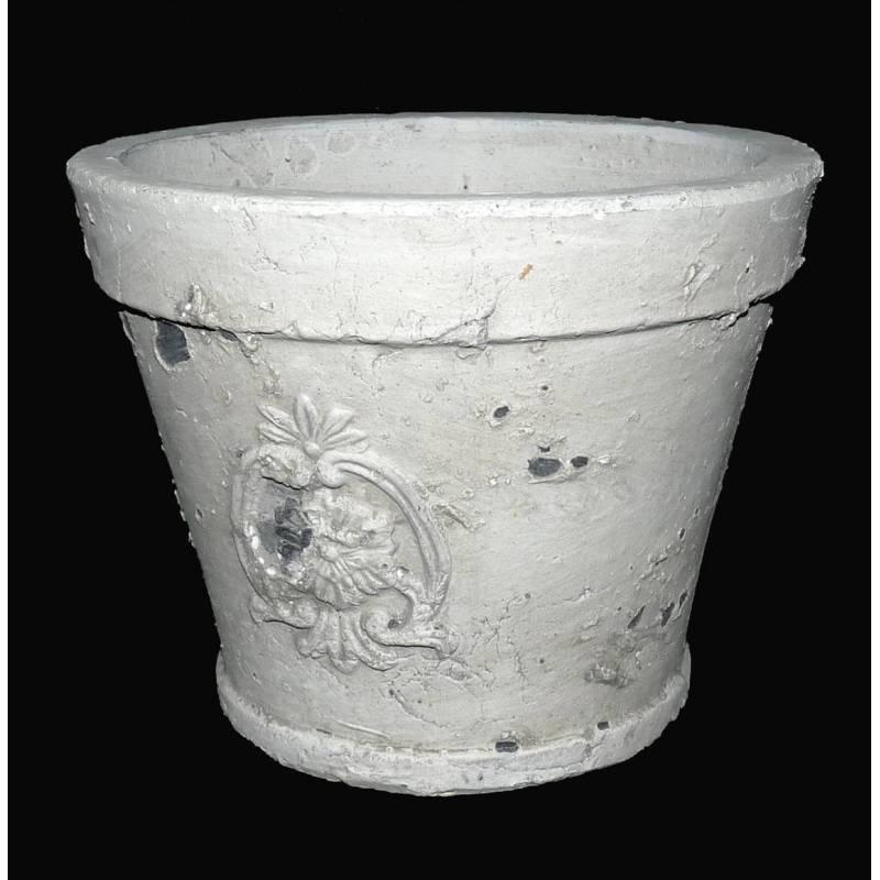 petit cache pot ou jardini re fa on poterie ancienne en terre cuite ton pierre 1 ebay. Black Bedroom Furniture Sets. Home Design Ideas