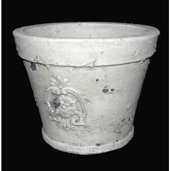 Petit Cache Pot ou Jardinière Façon Poterie Ancienne en Terre Cuite Ton Pierre 10x13x13cm