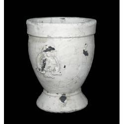 Grande Jardinière Style Antique ou Coupe Patinée à l'Ancienne en Terre Cuite Ton Pierre 18x18x23cm