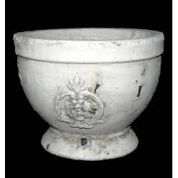 Grande Coupe Style Antique ou Pot Décoratif en Terre Cuite Ton Pierre 17x22x22cm