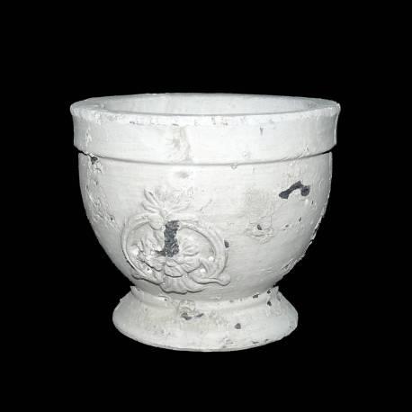 Petite Coupe Style Antique ou Pot Décoratif en Terre Cuite Ton Pierre 12x13x13cm