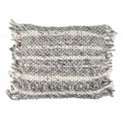 Coussin Décoratif Frills Gris Bleu Zuiver Décoration de Canapé Lit Fauteuil en Tissu avec Franges 45x45cm