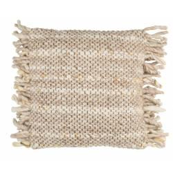 Coussin Décoratif Frills Beige Jaune Zuiver Décoration de Canapé Lit Fauteuil en Tissu avec Franges 45x45cm