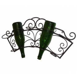 Porte bouteille Mural Etagère à Vin Range 5 Bouteilles en Fer Marron 11x31x62cm