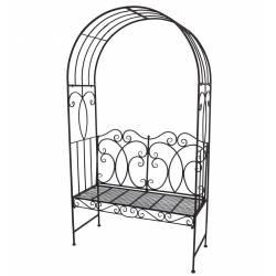 Banc Arche à Rosier Banquette Couverte Petite Gloriette ou Pergola en Fer Marron 40x118x210cm
