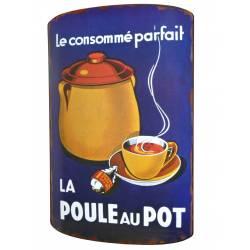 """Plaque Décorative de Cuisine Bombée Motif """"La Poule au Pot"""" à Poser en Fer 3x40x61cm"""