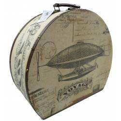 Petite Malle Boite Rangement Coffre Tapissé Bagage Poignée Cuir Voyage Bois et Tissu 10x21x24cm