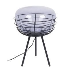 Lampe de Table Smokey Noir Zuiver Lampe sur Trépied avec Variateur Eclairage en Verre Fumé et Métal Laqué Noir 35,5x35,5x50cm