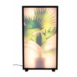 Lampadaire Grow XL Zuiver Motif Plantes Variateur Tactile en Aluminium avec Finition Chêne Foncé et Verre Acrylique 8x44x80cm