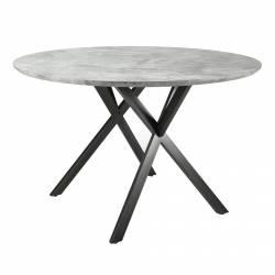 Table Ronde Hinsk Table de Repas Design Indus en Acier Noir et Bois avec Finition Béton 76x120x120cm