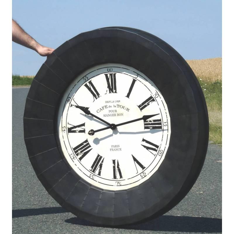 horloge industriel horloge indie horloge murale cm noir uua horloge vintage acier rouill sur. Black Bedroom Furniture Sets. Home Design Ideas