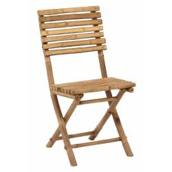 Chaise Pliable Bambou Naturel J-Line Assise de Table de Jardin en Bois de Bambou Couleur Naturelle 45x54x85cm