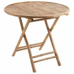 Table Ronde Pliable Bambou Naturel J-Line Table à Manger en Bois de Bambou Couleur Naturelle 76x90x90cm
