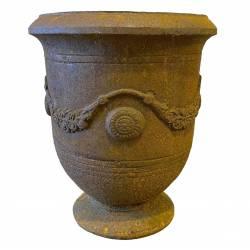 Vase Anduze Vasque Jardinière Pot de Fleurs Décoration Extérieure en Fonte Couleur Rouille 50x50x59cm