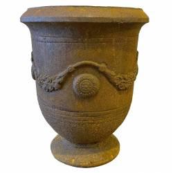 Vase Anduze Vasque Jardinière Pot de Fleurs Décoration Extérieure en Fonte Couleur Rouille 36x36x46cm