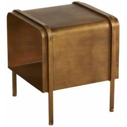Chevet Athezza Table de Nuit Vintage Table de Chevet en Métal Brossé Couleur Laitonnée 41x41,5x46cm