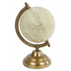 Mappemonde Globe Terrestre Décoratif Rotatif Planisphère sur Pied en Métal Crème et Gold 12x12x23cm