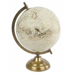 Mappemonde Globe Terrestre L Décoratif Rotatif Planisphère sur Pied en Métal Crème et Gold 20x20x30cm