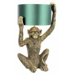 Lampe de Table en Forme de Singe Luminaire Tendance Eclairage en Résine Dorée et Tissu Vert 29x35,5x56cm