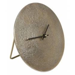 Horloge sur Pied Sun S Pendule Ronde à Poser en Aluminium Couleur Gold et Noir 5x20x20cm