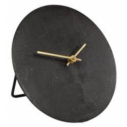 Horloge sur Pied Moon S Pendule Ronde à Poser en Aluminium Couleur Gold et Noir 5x20x20cm
