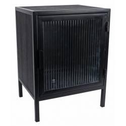 Meuble d'Appoint Bas S Meuble de Rangement Moderne Table de Chevet en Métal Noir, Verre Strié et Bois 30x38x50cm