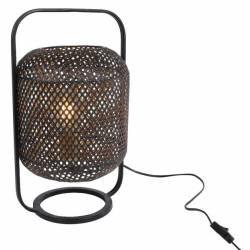 Lampe de Table Mix à Poser Luminaire Design Cercle Eclairage 1 Ampoule Electrique en Métal Noir et Laiton 15x32x35cm