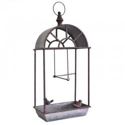 Nichoir à Oiseaux Mangeoire ou Perchoir à Suspendre en Métal Marron et Gris 15,5x25,5x53cm