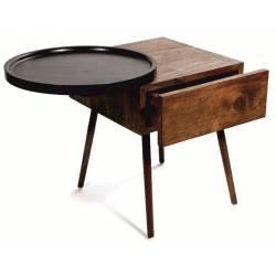Chevet Reda Athezza Table de Nuit Mobilier de Rangement en Acacia Naturel et Noir 45x54x60cm