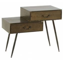 Chevet Manhattan Athezza Table de Nuit Mobilier de Rangement en Bois et Métal Couleur Bronze 40,5x66x80cm