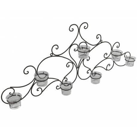 Applique Murale Bougeoir Style Fronton ou Candélabre 7 Verrines à Fixer en Fer Patiné Marron 7,5x31,5x75cm