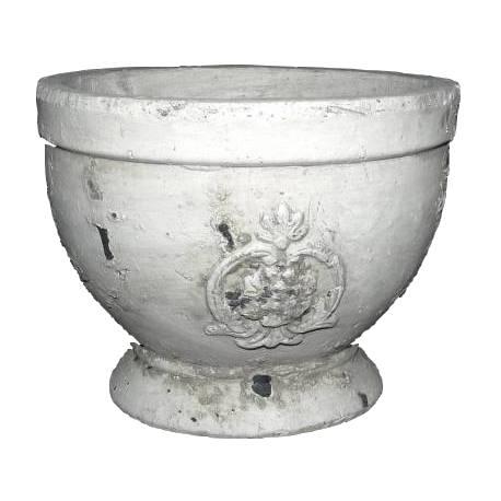 Moyenne Coupe Style Antique ou Pot Décoratif en Terre Cuite Ton Pierre 14x17x17cm