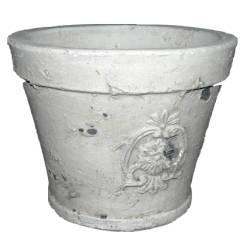 Grand Cache Pot ou Jardinière Façon Poterie Ancienne en Terre Cuite Ton Pierre 18x18x23cm