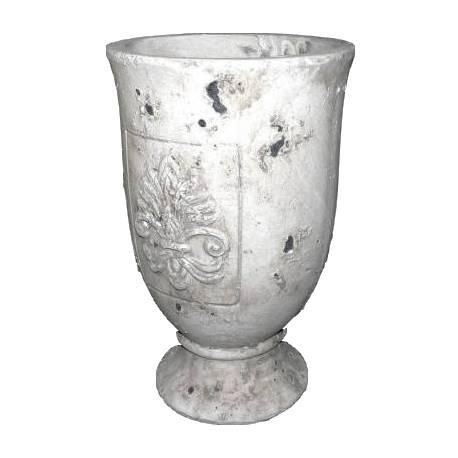 Petite Coupe Cache Pot Style Antique en Terre Cuite Ton Pierre 13x13x20cm