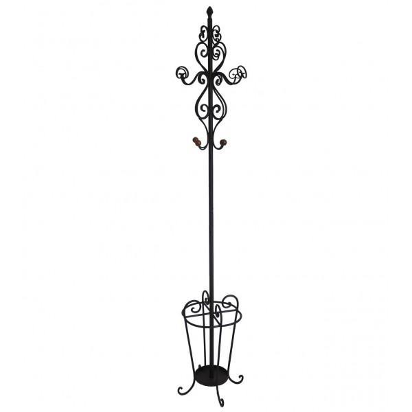 Porte Manteau Style Perroquet Chapeaux Vestes Parapluie Canne en Fer 41x41x195cm