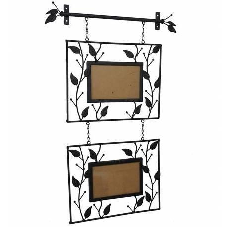 Porte Photos Mural à Poser ou à Suspendre 2 Cadres à Photographies en Fer Patiné Noir 1x42x68cm