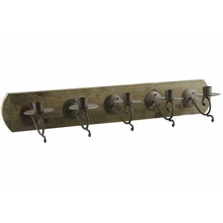 Applique 5 Chandelles Murales à l'Ancienne ou Bougeoir Style Porte Manteaux en Fer et Bois Patiné Marron 9,5x14,5x59,5cm